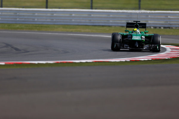 Silverstone, Northamptonshire, England. Wednesday 9 July 2014. Julian Leal, Caterham CT05 Renault. World Copyright: Zak Mauger/LAT Photographic. ref: Digital Image _L0U7771