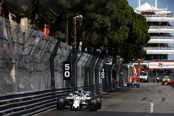 Monte Carlo, Monaco. Sunday 28 May 2017. Lance Stroll, Williams FW40 Mercedes. World Copyright: Andrew Hone/LAT Images ref: Digital Image _ONZ0556