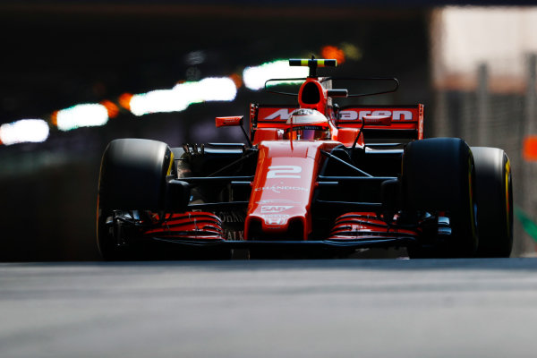 Monte Carlo, Monaco. Saturday 27 May 2017. Stoffel Vandoorne, McLaren MCL32 Honda. World Copyright: Sam Bloxham/LAT Images ref: Digital Image _J6I1838
