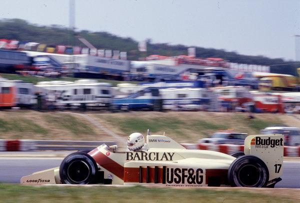 1986 Hungarian Grand Prix.  Hungaroring, Budapest, Hungary.  8-10 August 1986.  Christian Danner (Arrows A9 BMW).  Ref-86 HUN 38.  World Copyright - LAT Photographic