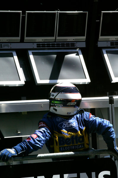 2004 Australian V8 Supercars.Non-Championship Round. Albert Park, Melbourne, 5th - 7th March.Max Wilson looks at the timing monitors after qualifying.World Copyright: Mark Horsburgh/LAT Photographicref: Digital Image Only