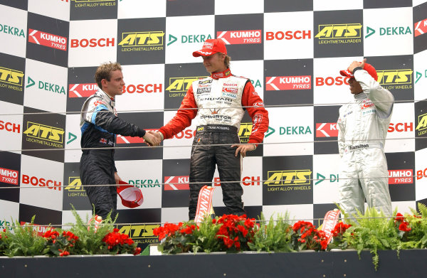 2004 Formula Three EuroseriesNurburgring, Germany. 31st July - 1st August 2004Race 1 podium, Nico Rosberg (Team Rosberg) 1st, Jamie Green (ASM Formule 3) 2nd and Lewis Hamilton (Manor Motorsport) 3rd.Wold Copyright : Andre Irlmeier / LAT Photographicref: Digital Image Only