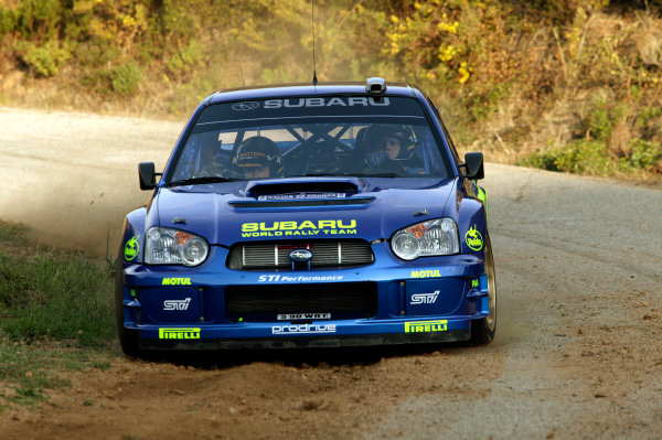 2003 FIA World Rally Champs. Round Twelve Corsica Rally 16th-19th October 2003.Tommi Makinen, Subaru, actionWorld Copyright: McKlein/LAT