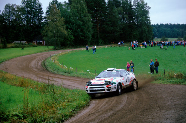 1000 Lakes Rally, Finland. 27-29 August 1993. Rd 9. Juha Kankkunen/Denis Giraudet (Toyota Celica Turbo 4WD), 1st position, action World Copyright: LAT Photographic Ref: 35mm transparency 93RALLY03