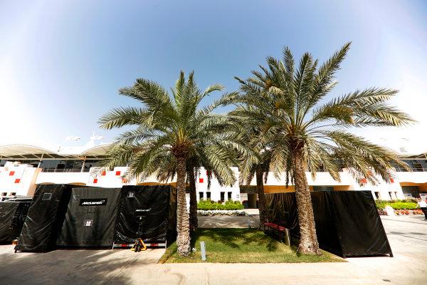 Bahrain International Circuit, Sakhir, Bahrain.  Tuesday 18 April 2017. McLaren frieght in the paddock. World Copyright: Glenn Dunbar/LAT Images ref: Digital Image _X4I1881