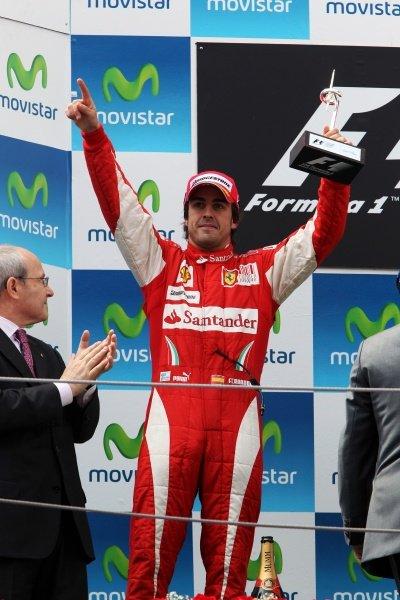 Fernando Alonso (ESP) Ferrari celebrates his second position on the podium. Formula One World Championship, Rd 5, Spanish Grand Prix, Race, Barcelona, Spain, Sunday 9 May 2010.