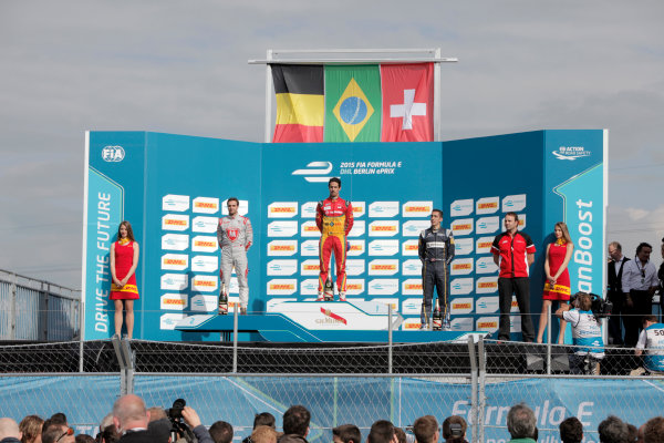 2014/2015 FIA Formula E Championship. Berlin ePrix, Berlin Tempelhof Airport, Germany. Saturday 23 May 2015 Podium. 1st, Lucas di Grassi (BRA)/Audi Abt Sport - Spark-Renault SRT_01E, 2nd, Jerome D'Ambrosio (BEL)/Dragon Racing - Spark-Renault SRT_01E and 3rd, Sebastien Buemi (SWI)/E.dams Renault - Spark-Renault SRT_01E. Photo: Andrew Ferraro/LAT/Formula E ref: Digital Image _MG_7613