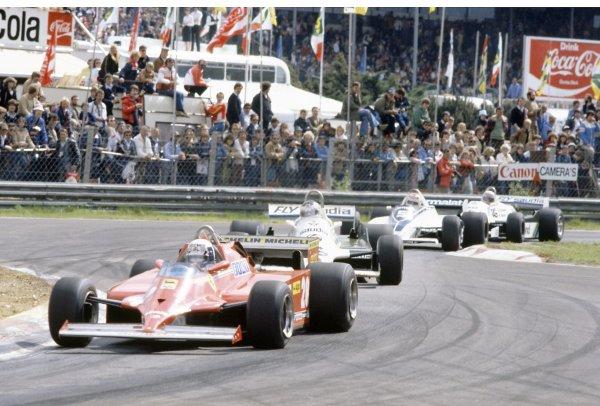 1981 Belgian Grand Prix.Zolder, Belgium. 15-17 May 1981.Didier Pironi (Ferrari 126C) leads Carlos Reutemann (Williams FW07C-Ford Cosworth), Nelson Piquet (Brabham BT49C-Ford Cosworth) and Alan Jones (Williams FW07C-Ford Cosworth). Reutemann finished in 1st position.World Copyright: LAT PhotographicRef: 35mm transparency 81BEL13