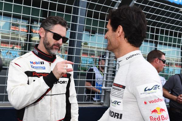 Hollywood flimstar Eric Bana (AUS) and Mark Webber (AUS) Porsche at Formula One World Championship, Rd1, Australian Grand Prix, Qualifying, Albert Park, Melbourne, Australia, Saturday 14 March 2015.