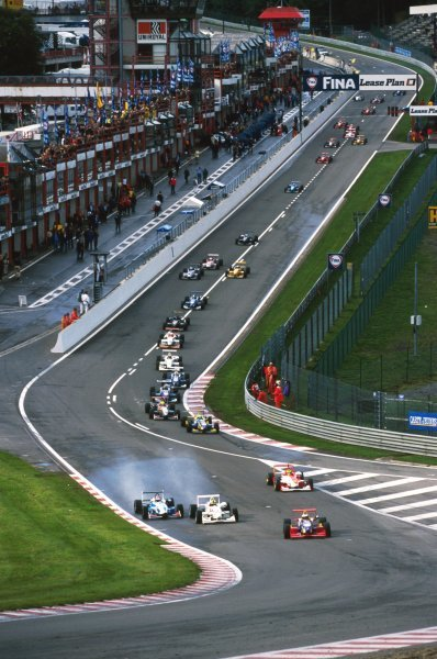 Pole sitter Jenson Button (GBR) Promatecme Dallara F399-Renault, who finished the race in fourth position, leads the field into Eau Rouge at the start of the race.