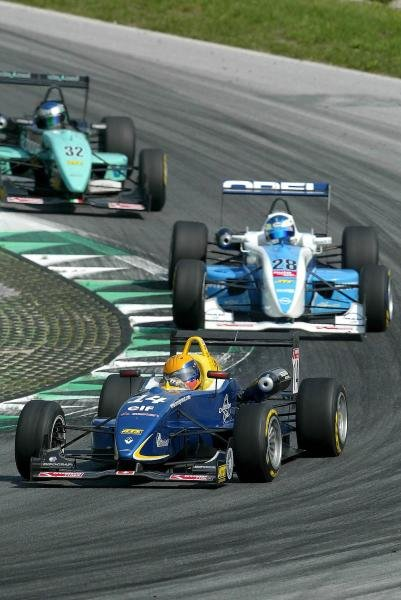 Harold Primat (SUI) Saulnier Racing Dallara Renault in front of Alexandros Margaritis (GRE) MB Racing Performance Dallara Opel.