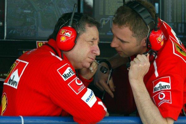 (L to R): Jean Todt (FRA) Ferrari General Manager and Stefano Domenicali (ITA) Ferrari Director of F1 Racing Activities.Formula One World Championship, Rd4, San Marino Grand Prix, Imola, Italy, 18 April 2003.DIGITAL IMAGE