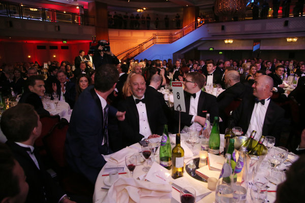 2016 Autosport Awards.  Grosvenor House Hotel, Park Lane, London. Sunday 4 December 2016.  Jonny Kane wins the use of a Mercedes Coupe for a year in a raffle. Guests on his table include David Brabham. World Copyright: Jed Leicester/LAT Images. ref: Digital Image JL3_9243