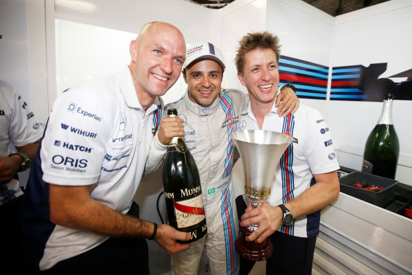 Autodromo Nazionale di Monza, Monza, Italy. Sunday 7 September 2014. Felipe Massa, Williams F1, 3rd Position, celebrates a podium finish with team mates. World Copyright: Glenn Dunbar/LAT Photographic. ref: Digital Image _W2Q0741