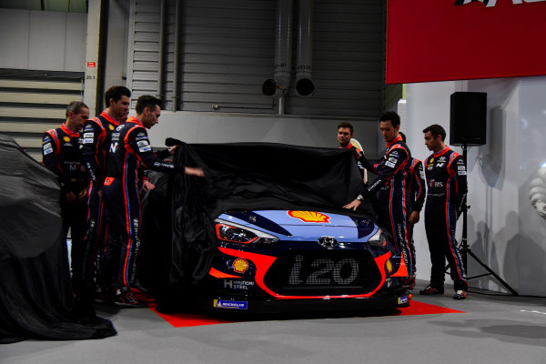 Autosport International Exhibition. National Exhibition Centre, Birmingham, UK. Thursday 11th January 2017. The Hyundai team, including Thierry Neuville, Andreas Mikkelsen, Dani Sordo, Hayden Paddon and team manager Michel Nandan, unveil their 2018 WRC challenger.World Copyright: Mark Sutton/Sutton Images/LAT Images Ref: DSC_7279