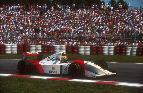 1993 Canadian Grand Prix.Montreal, Quebec, Canada.11-13 June 1993.Ayrton Senna (McLaren MP4/8 Ford) 18th position after his alternator failed.Ref-93 CAN 05.World Copyright - LAT Photographic