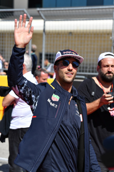 Daniel Ricciardo (AUS) Red Bull Racing on the drivers parade at Formula One World Championship, Rd17, United States Grand Prix, Race, Circuit of the Americas, Austin, Texas, USA, Sunday 22 October 2017.