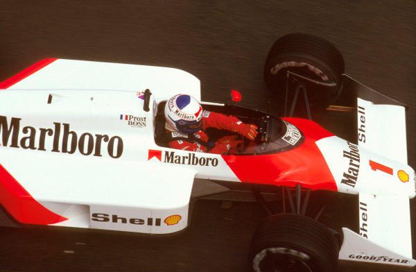 Spa-Francorchamps, Belgium. 15th - 17th May 1987. Alain Prost (McLaren MP4/3 TAG Porsche) 1st position. Ref-87 BEL 05. World Copyright - LAT Photographic
