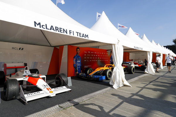 The McLaren stand. A 1988 MP4/4 is in the foreground