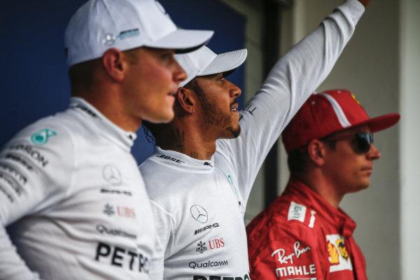 Valtteri Bottas, Mercedes AMG F1, Lewis Hamilton, Mercedes AMG F1 and Kimi Raikkonen, Ferrari in Parc Ferme.