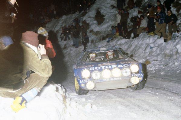1979 World Rally Championship.Monte Carlo Rally, Monaco. 20-26 January 1979.Bernard Darniche/Alain Mahe (Lancia Stratos), 1st position.World Copyright: LAT PhotographicRef: 35mm transparency 79RALLY01