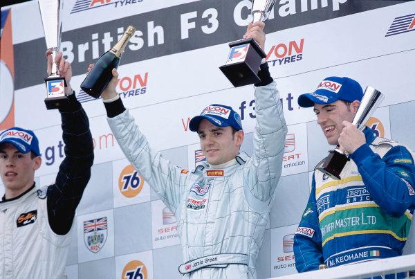 2003 British Formula ThreeDonington, England. 5th - 6th April 2003Race One podium, Jamie Green, 1st, Alan Van der Merwe, 2nd and Michael Keohane, 3rd.World Copyright: Glenn Dunbar/LAT Photographicref: 35mm Image A01