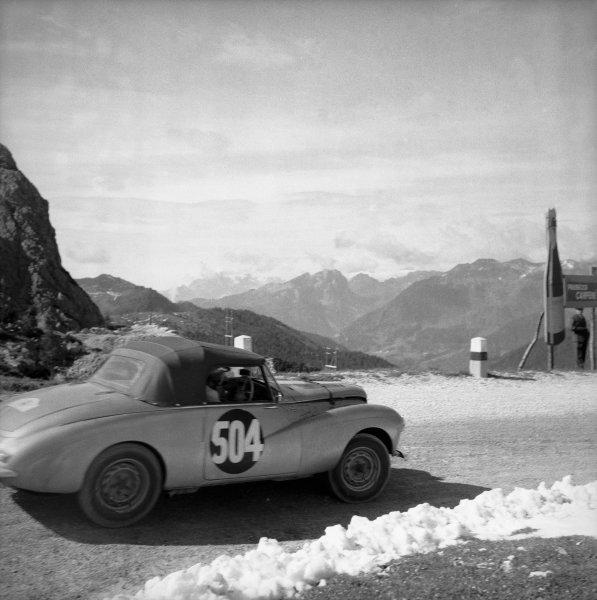 1954 Alpine Rally.July 1954.Sunbeam Talbot Alpine. Peter Collins , Mr. Garrad.Car No: 504REG No: MKV 23Retired with broken rear axle on Stelvio pass.World Copyright:LAT Photographic.Ref:K542 C