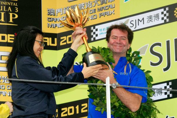 2012 Macau Grand Prix. Circuit de Guia, Macau. 15th - 18th November 2012. Trevor Carlin on the podium. World Copyright: Ebrey/LAT Photographic.