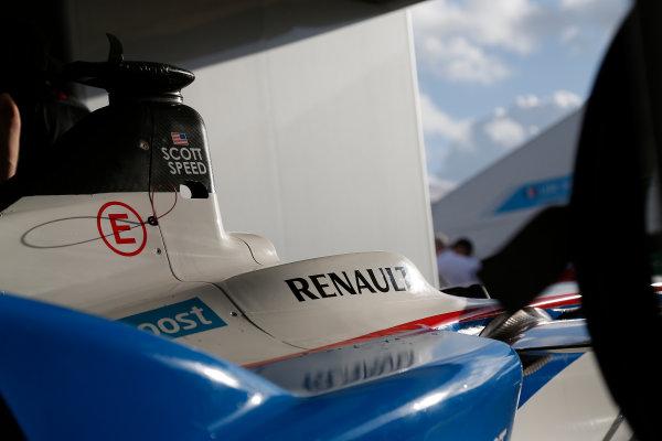 Miami e-Prix 2015. First Practice Session Scott Speed (USA)/Andretti Autosport - Spark-Renault SRT_01E. Car in Garage. FIA Formula E World Championship. Miami, Florida, USA. Saturday 14 March 2015.  Copyright: Adam Warner / LAT / FE ref: Digital Image _L5R3396