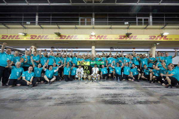 Bahrain International Circuit, Sakhir, Bahrain. Sunday 19 April 2015. Lewis Hamilton, Mercedes AMG, 1st Position, Nico Rosberg, Mercedes AMG, 3rd Position, and the Mercedes team celebrate victory. World Copyright: Steve Etherington/LAT Photographic. ref: Digital Image SNE24547