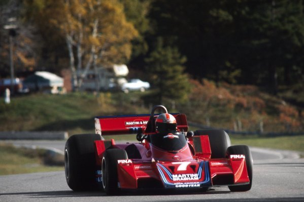 John Watson (GBR) Brabham BT45B retired from the race on lap 3 with a bent front suspension after contact with Ronnie Peterson (SWE) Tyrrell.Canadian Grand Prix, Rd 16, Mosport Park, Canada, 9 October 1977.BEST IMAGE