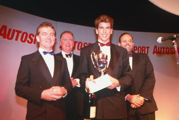 1993 Autosport Awards. Grosvenor House Hotel, Park Lane, London, Great Britain. 5th December 1993. Ralph Firman Jr, wins the Autosport/McLaren Young Driver Award. World Copyright: LAT Photographic. Ref:  Colour Transparency.