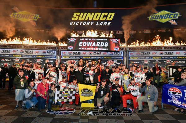 4-6 November, 2016, Fort Worth, Texas USA Carl Edwards, Sport Clips Toyota Camry celebrates his win in Victory Lane © 2016, Nigel Kinrade LAT Photo USA