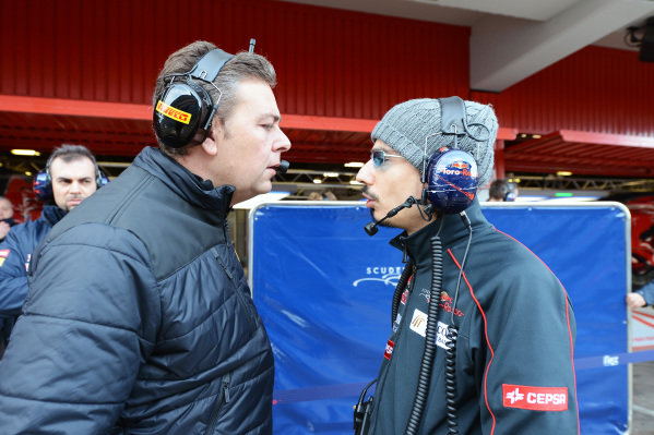 (L to R): Mario Isola (ITA) Pirelli Sporting Director talks with Laurent Mekies (FRA) Scuderia Toro Rosso Race Engineer. Formula One Testing, Day 1, Barcelona, Spain, Thursday 28 February 2013.