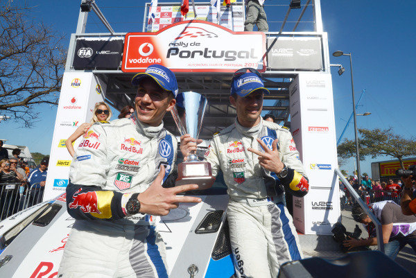 Sebastien Ogier (FRA) and Julien Ingrassia (FRA), VW celebrate victory on the podium.
