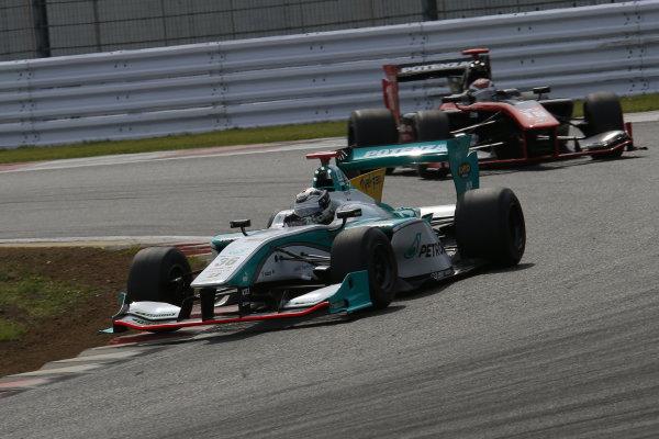 2014 Super Formula Series. Fuji, Japan. 17th - 18th May 2014. Rd 2. Race 2 - Winner Andre Lotterer ( #36 PETRONAS TOM'S SF14 ) action World Copyright: Yasushi Ishihara / LAT Photographic. Ref: 2014SF_Rd2_016.JPG