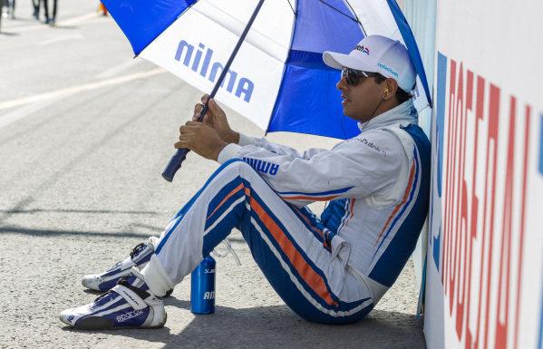Salvador Duran (MEX) - Amlin Aguri on the grid at Formula E Championship, Rd9, Moscow, Russia, 4-6 June 2015.