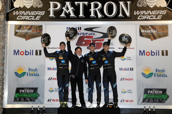 2017 IMSA WeatherTech SportsCar Championship Mobil 1 Twelve Hours of Sebring Sebring International Raceway, Sebring, FL USA Saturday 18 March 2017 10, Cadillac DPi, P, Ricky Taylor, Jordan Taylor, Alexander Lynn, podium World Copyright: Michael L. Levitt/LAT Images ref: Digital Image levitt_seb_0317-31902