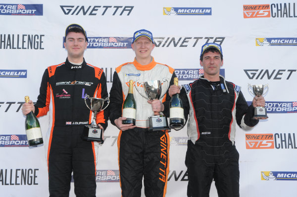 2017 Ginetta Racing Drivers Club + Oulton Park, Cheshire. 15th April 2017. Race 1 Podium (l-r) Jack Oliphant Ginetta G40, Phil Ingram Ginetta G40, Richard Tetlow Ginetta G40. World Copyright: JEP/LAT Images.