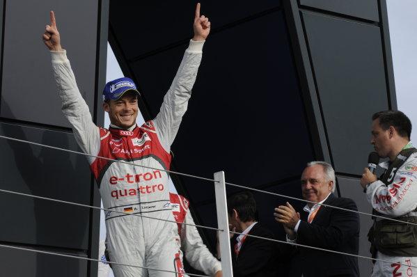 Silverstone, England. 24th - 26th August 2012. Rd 4.Andre Lotterer (GER), Audi Sport Team Joest, Audi R18 E-Tron Quatrro, Portrait, PodiumWorld Copyright: Chris Bird/LAT Photographic.Ref:  _CJB8559
