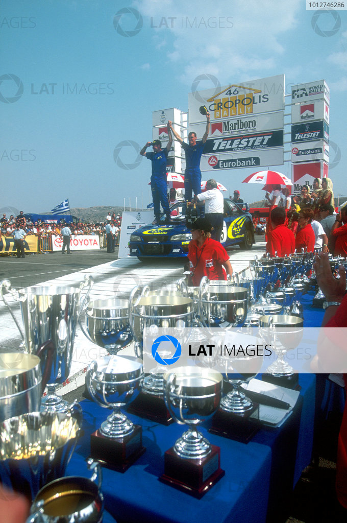 1999 World Rally Championship Acropolis Rally, Greece. 6th - 9th June 1999. Rally winner Richard Burns, Subaru Impreza, podium. World Copyright: McKlein/LAT Photographic