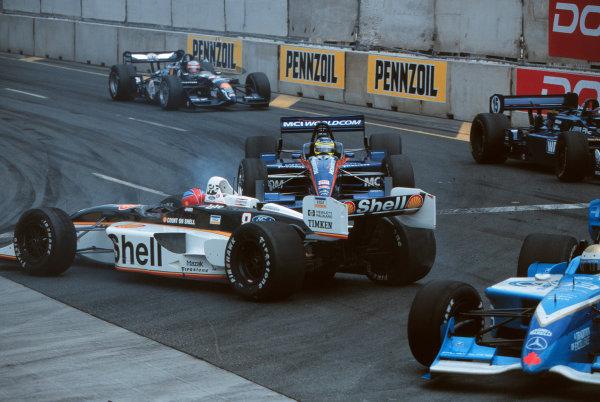1999 CART Toronto G P.The drivers scramble to avoid Bryan Herta who has spun in turn 3-1999, David ChessonLAT PHOTOGRAPHIC