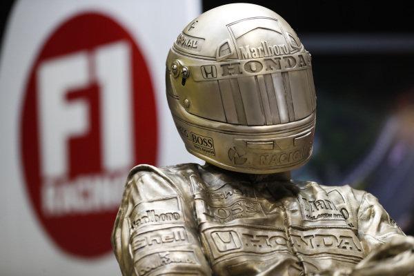 A Paul Oz Ayrton Senna sculpture.