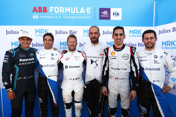 Mitch Evans (NZL), Panasonic Jaguar Racing, Antonio Felix da Costa (PRT), BMW I Andretti Motorsports, Sam Bird (GBR), Envision Virgin Racing, Jean-Eric Vergne (FRA), DS TECHEETAH, Sébastien Buemi (CHE), Nissan e.Dams, and Alexander Sims (GBR) BMW I Andretti Motorsports, pose for a post-qualifying picture