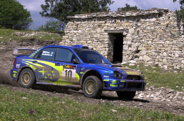 World Rally Championship, Cyprus Rally, April 18-21, 2002.Tommi Makinen in action on Stage 17, Leg 3.Photo: Ralph Hardwick/LAT