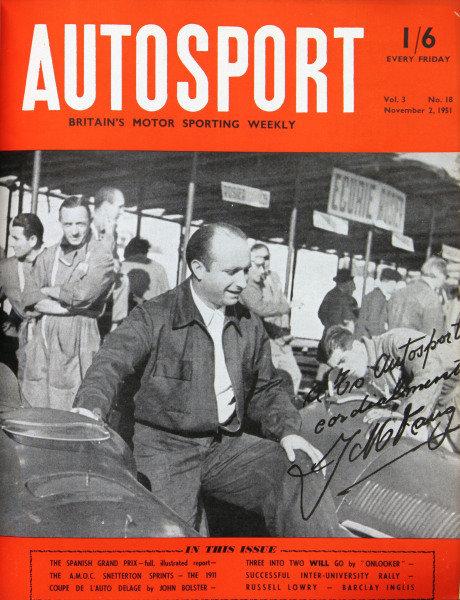 Cover of Autosport magazine, 2nd November 1951