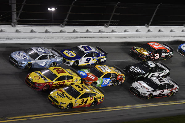 #4: Kevin Harvick, Stewart-Haas Racing, Ford Mustang Busch Light #TheCrew, #22: Joey Logano, Team Penske, Ford Mustang Shell Pennzoil, #34: Michael McDowell, Front Row Motorsports, Ford Mustang Love's Travel Stops