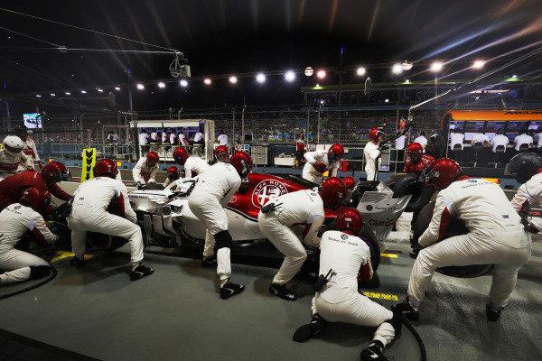 Charles Leclerc, Sauber C37 Ferrari, makes a pit stop