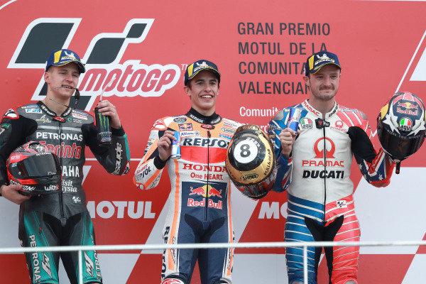 Podium: race winner Marc Marquez, Repsol Honda Team, second place Fabio Quartararo, Petronas Yamaha SRT, third place Jack Miller, Pramac Racing