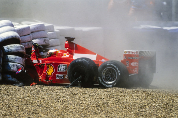 Michael Schumacher, Ferrari F399, crashes out and breaks his leg, causing the German to miss the following races until the penultimate round of the season.